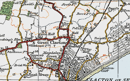 Old map of Great Clacton in 1921