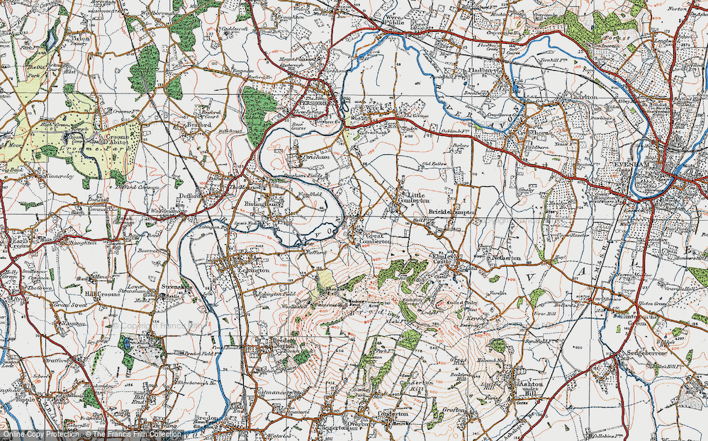 Old Map of Historic Map covering Banbury Stone in 1919