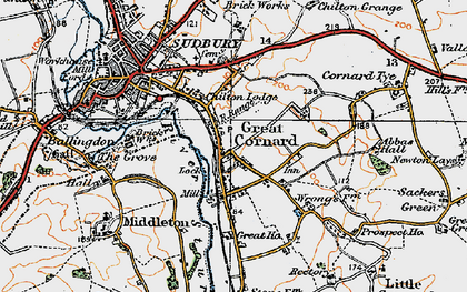 Old map of Great Cornard in 1921