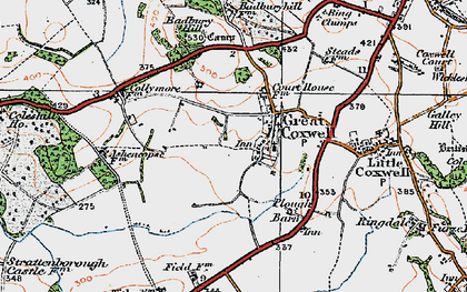 Old map of Badbury in 1919