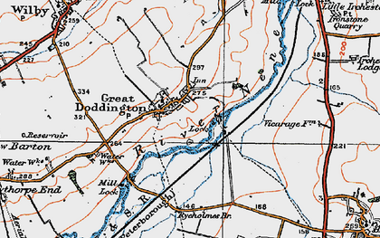Old map of Great Doddington in 1919