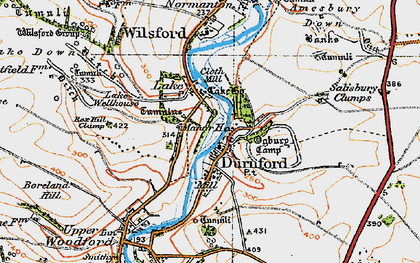 Old map of Great Durnford in 1919