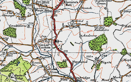 Old map of Great Easton in 1919
