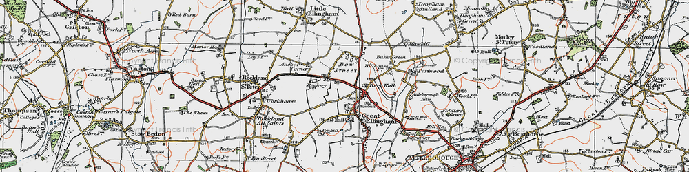 Old map of Great Ellingham in 1921