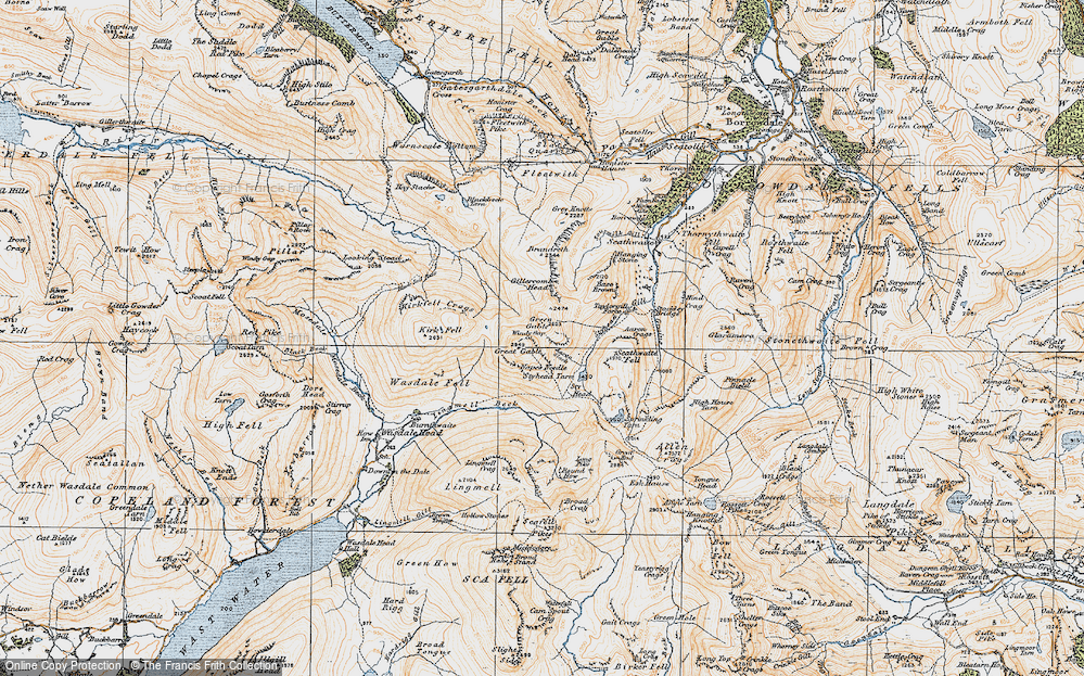 Old Map of Historic Map covering Aaron Slack in 1925