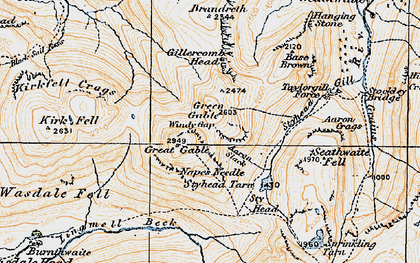 Old map of Aaron Crags in 1925
