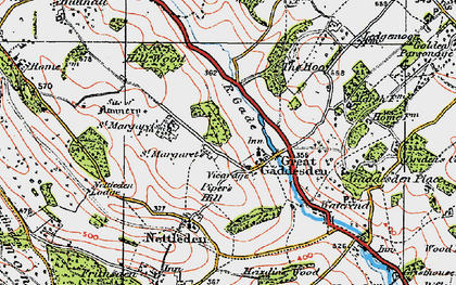 Old map of Great Gaddesden in 1920