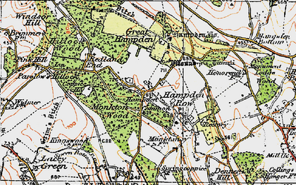 Old map of Great Hampden in 1919