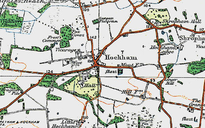 Old map of Great Hockham in 1920