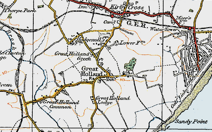Old map of Great Holland in 1921