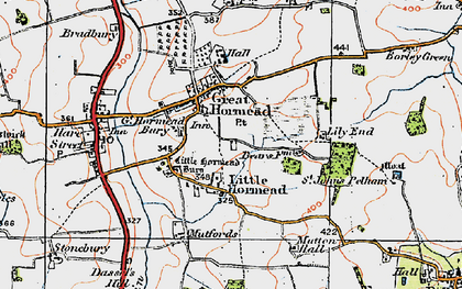 Old map of Great Hormead in 1919