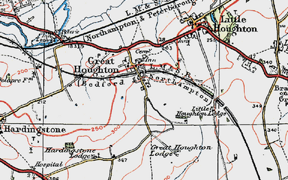 Old map of Great Houghton in 1919