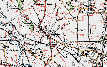 Old map of Great Houghton in 1924