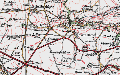 Old map of Great Hucklow in 1923