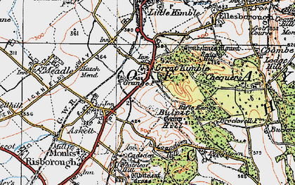Old map of Great Kimble in 1919