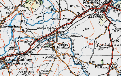 Old map of Great Linford in 1919