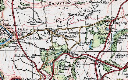 Old map of Great Longstone in 1923