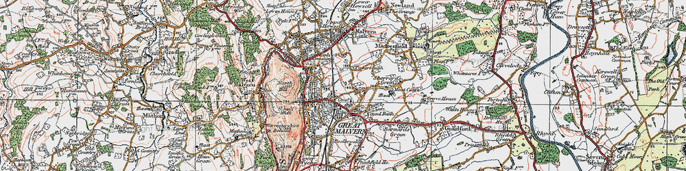 Old map of Great Malvern in 1920