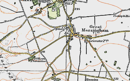 Old map of Great Massingham in 1921