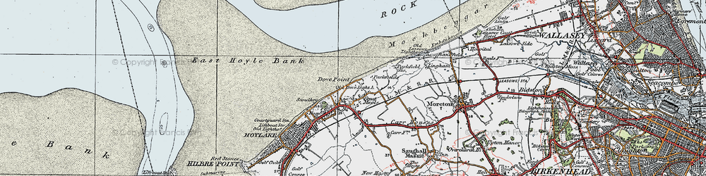 Old map of Great Meols in 1923