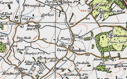 Old map of Great Munden in 1919