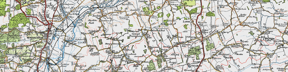 Old map of Great Parndon in 1919