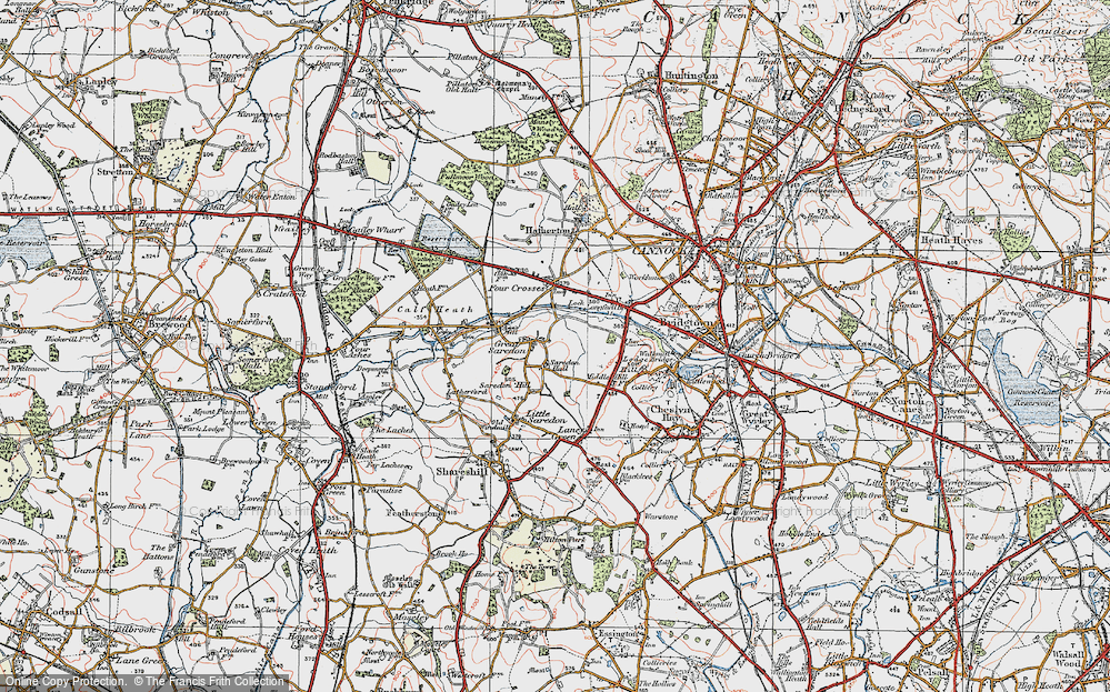 Old Map of Great Saredon, 1921 in 1921