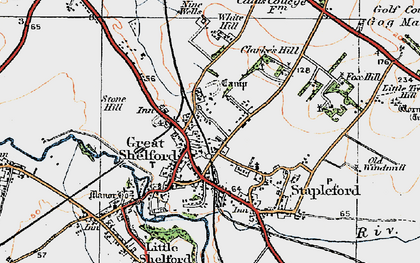 Old map of Great Shelford in 1920