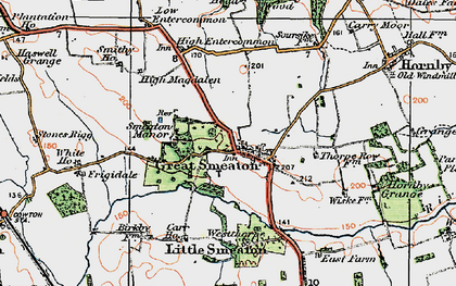 Old map of Great Smeaton in 1925
