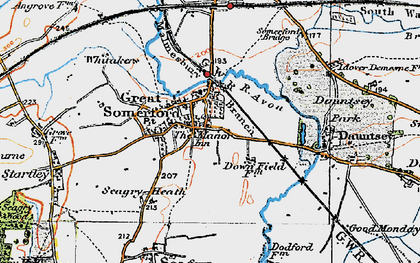 Old map of Great Somerford in 1919