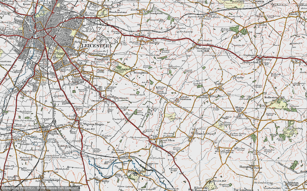 Old Map of Historic Map covering Leicester Airport in 1921