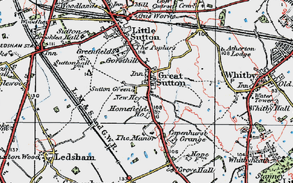 Old map of Great Sutton in 1924