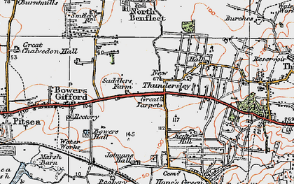 Old map of Great Tarpots in 1921