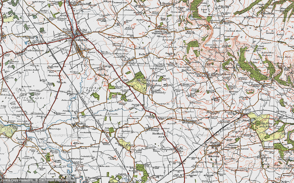 Old Map of Historic Map covering Balk Grange in 1925