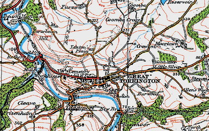 Old map of Great Torrington in 1919