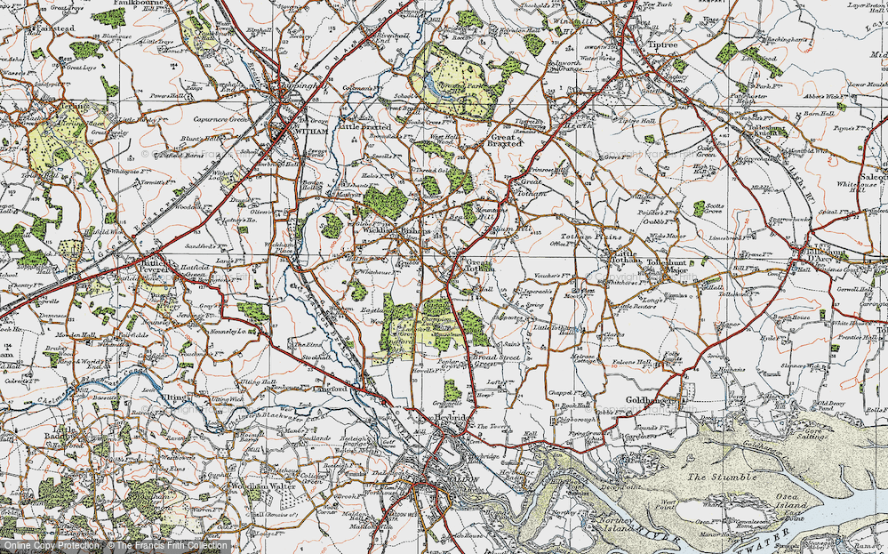 Old Map of Historic Map covering Langford Grove in 1921