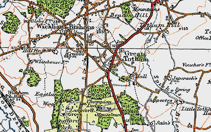 Old map of Langford Grove in 1921