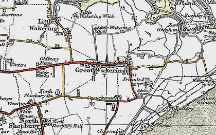 Old map of Great Wakering in 1921