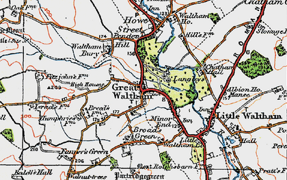 Old map of Great Waltham in 1919