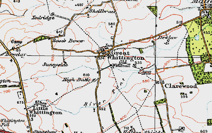 Old map of Whiggs, The in 1925