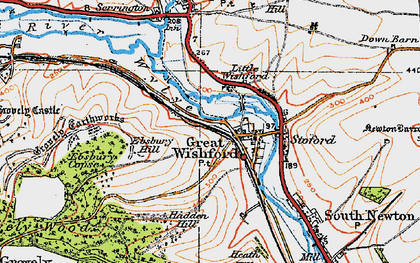 Old map of Great Wishford in 1919