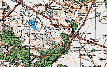 Old map of Witcombe Park in 1919