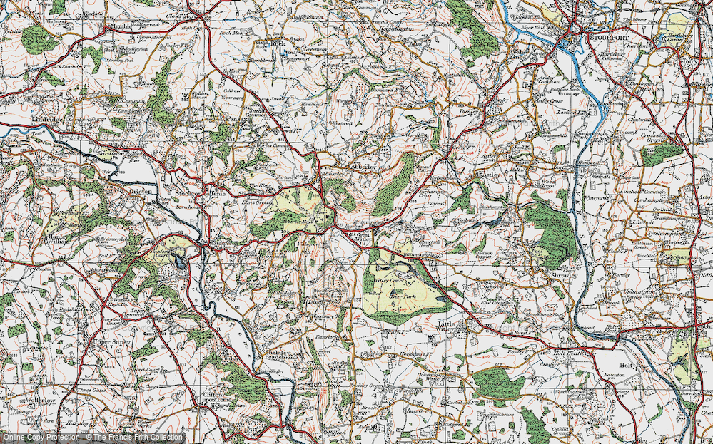 Old Map of Historic Map covering Abberley Hall in 1920