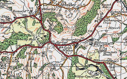 Old map of Great Witley in 1920