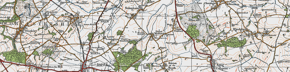 Old map of Wolford Wood in 1919