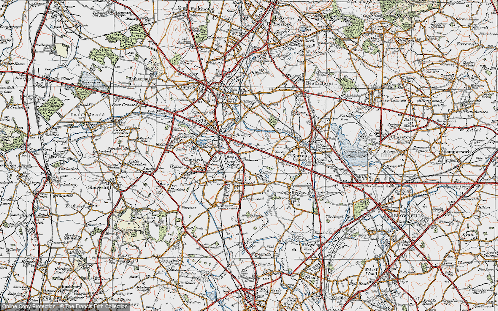 Old Map of Great Wyrley, 1921 in 1921