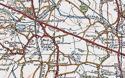 Old map of Great Wyrley in 1921