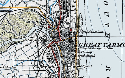 Old map of Yarmouth Roads in 1922