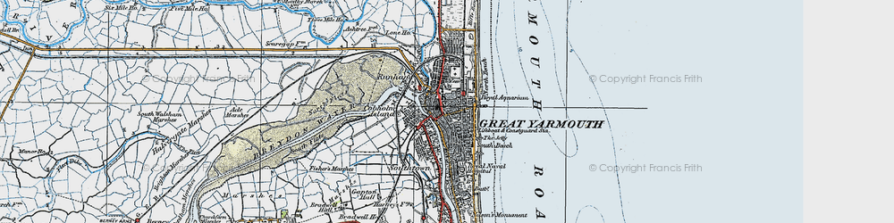 Old map of Great Yarmouth in 1922