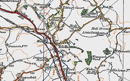Old map of Great Yeldham in 1921